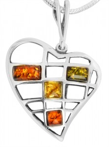 Mixed colors amber pendant Heart
