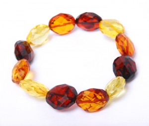 Bracelet with cognac, yellow and cherry Amber